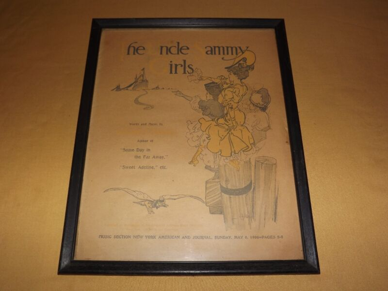 VINTAGE 1906  UNCLE SAMMY GIRLS FRAMED NY AMERICAN & JOURNAL MUSIC SECTION PAGE