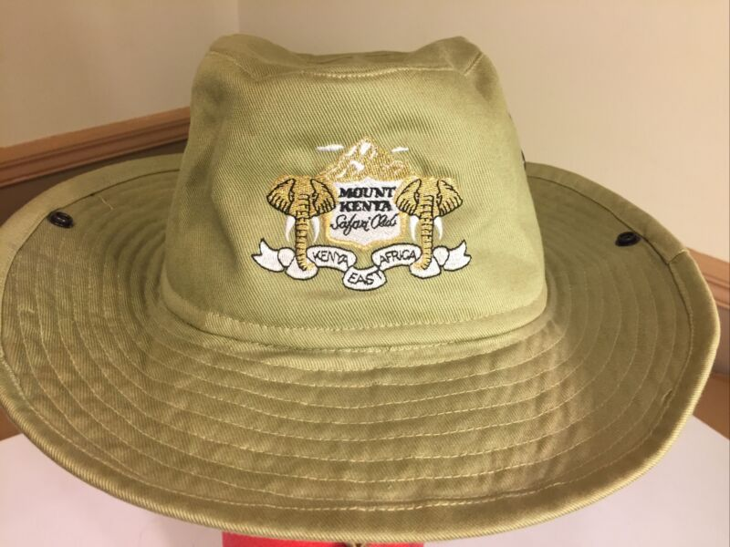 "Genuine MOUNT KENYA SAFARI CLUB AFRICA Gold Embroidered Vented Hat 8.25"" Rare"