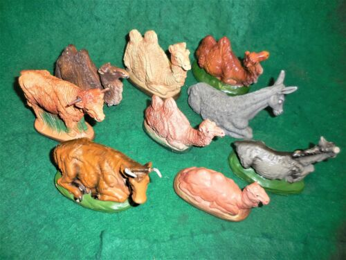 9 Large Vintage Nativity Animals- Chalkware & Other. Camels, Cows, Donkeys