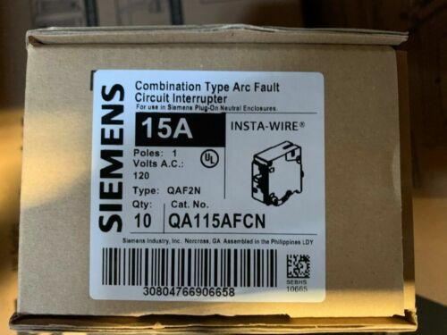 10 SIEMENS QA115AFCN 15 AMP PLUG-ON NEUTRAL ARC FAULT AFCI CIRCUIT BREAKERS **