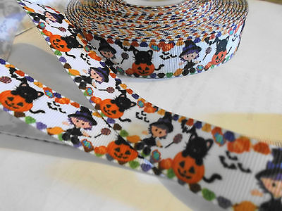 1m g/g ribbon Halloween theme pumpkin cat witch hair clips craft cake trimming](Pumpkin Themed Halloween Cake)