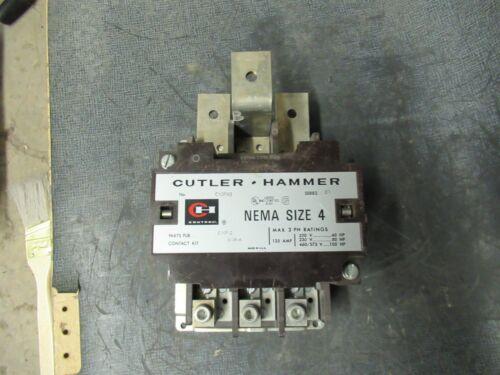 CUTLER HAMMER CONTACTOR 135 AMP, 3 PHASE, 600 V WITH 480V COIL MODEL: C10FN3