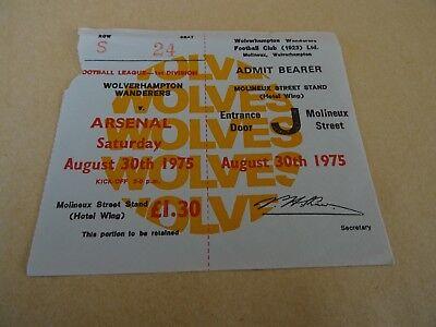 Ticket - Wolves v Arsenal Div 1 Aug 30th 1975