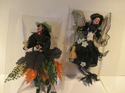 HALLOWEEN  WITCH ORNAMENT SET OF 2   8''TALL