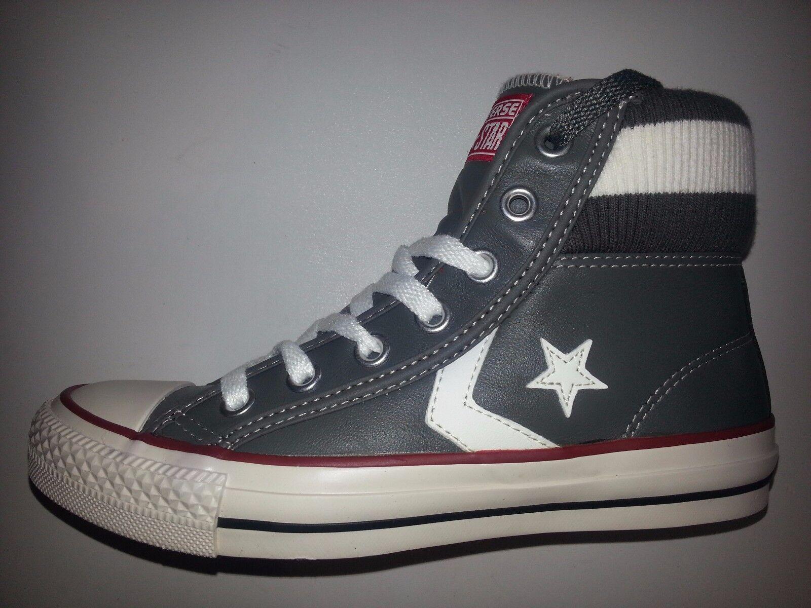 Converse Star Player Cuf Damen Mädchen Leder Sneaker grau-weiß Größe 36 NEU