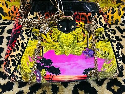 NEW H & M VERSACE LEOPARD ANIMAL PRINT VELOUR BAG WITH LEOPARD DUST COVER