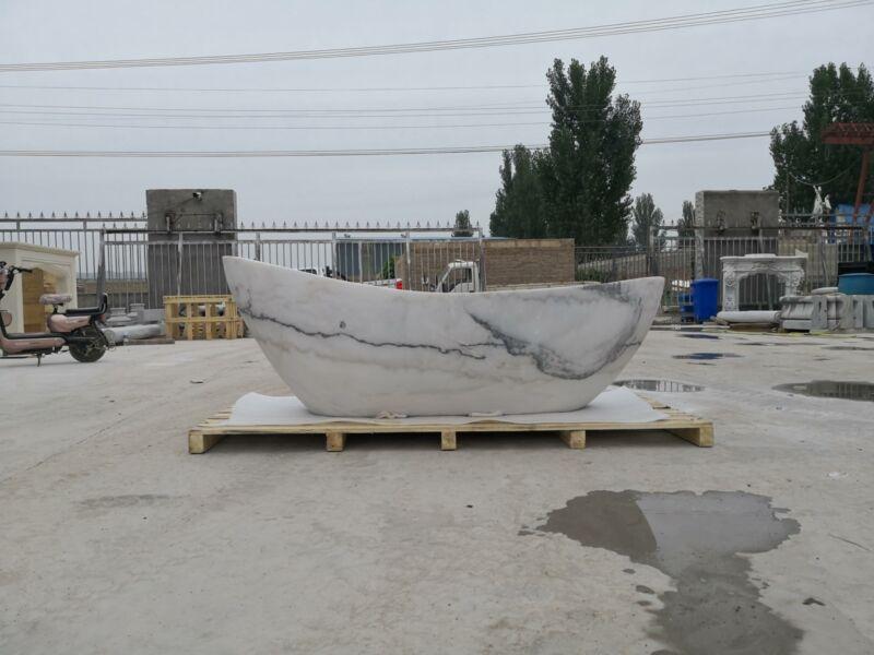BEAUTIFUL HAND CARVED ESTATE MARBLE BATH TUB - JBR561