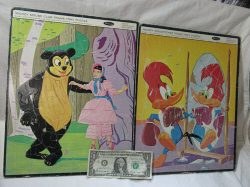 1963 Mickey Mouse Club & Woody Woodpecker Frame Tray Puzzle Whitman #4428