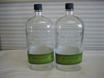 (2) Empty Bottles Bulleit Rye Frontier Whiskey 1.75L Crafts Clear Glass -Two-