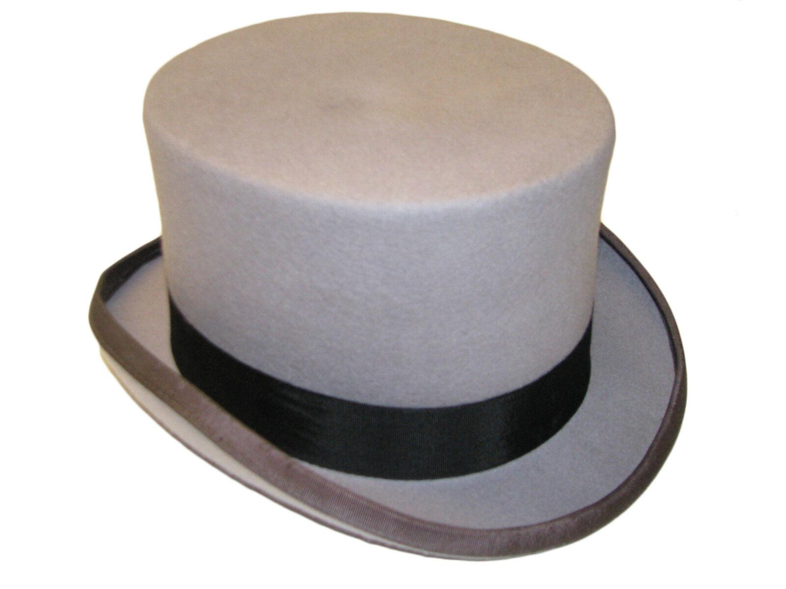 02b8dac41865 Detalles de Nuevo Hombre Boda Ascot Evento 100% Lana Gris Fieltro Sombrero  de Copa Forro