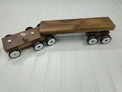 Classic Wooden Toy Truck Trailer Metal Wheels Flatbed