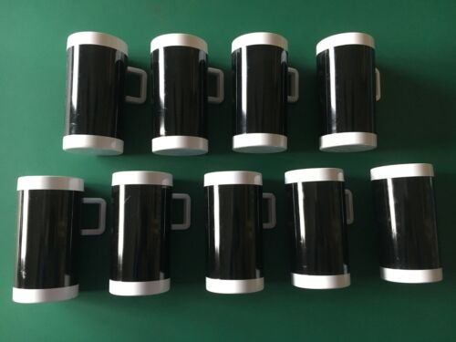 BRANIFF AIRLINES PLASTIC ESPRESSO COFFEE MUGS--Set of 9.  1970s modern.  GUC