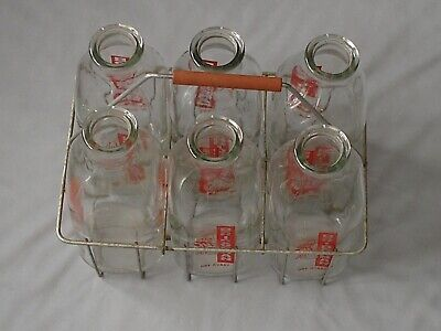 Vintage Metal Wire Milk Carrier and 6 Bridgeman Quart Pyro Bottles Girls Cow Sun