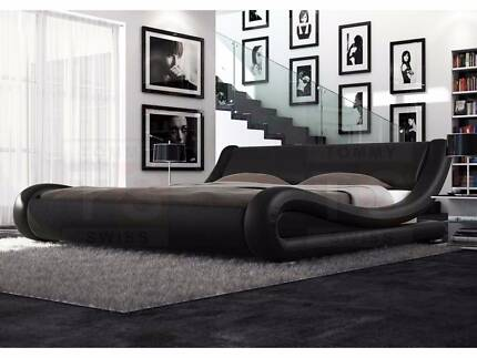 Ex-Demo Black Pu Leather Bed Frame Queen Size - Stylish