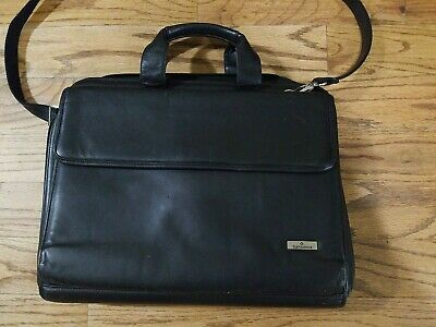 "Samsonite Flapover 15""x12""x4"" Business Case / Laptop Bag  - Black Leather Strap"