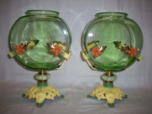 ANTIQUE VINTAGE FISH BOWLS GREEN TANK HOLDERS ART DECO HOUZE GLASS PAIR