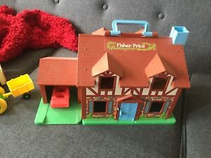 Fisher-Price house and 3 vehicles.