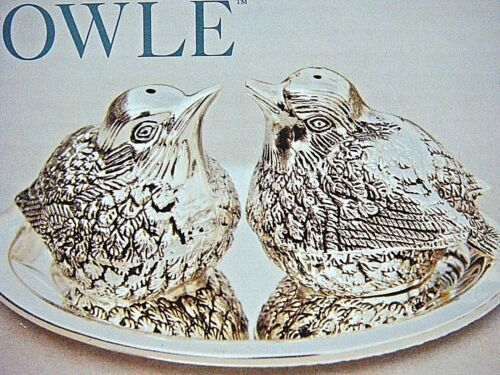 NIB TOWLE Silverplate SPARROW SALT & PEPPER SHAKERS on TRAY