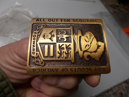 Boy Scouts of America All Out For Scouting Max Silber Belt Buckle, new
