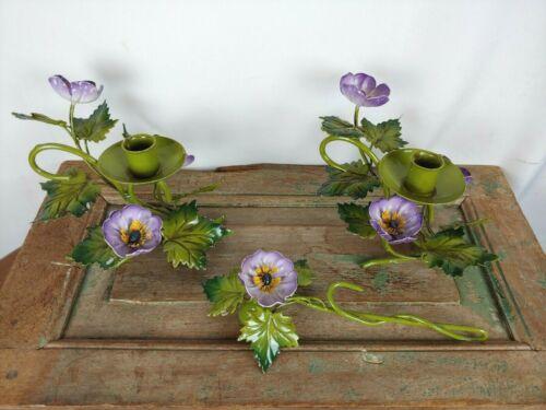 Vtg Lot 3 Tole Metal Ivy Leaf Italian Shabby Chic Candle Holders Purple Flowers