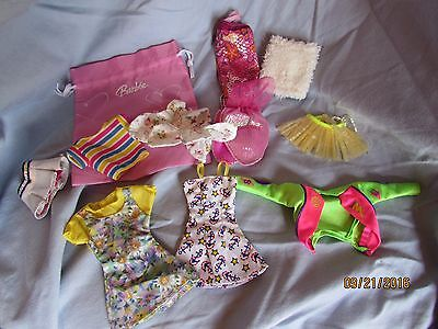 Pink BARBIE Ball & lot of clothes Green Bike Jacket Anchor Sundress floral top