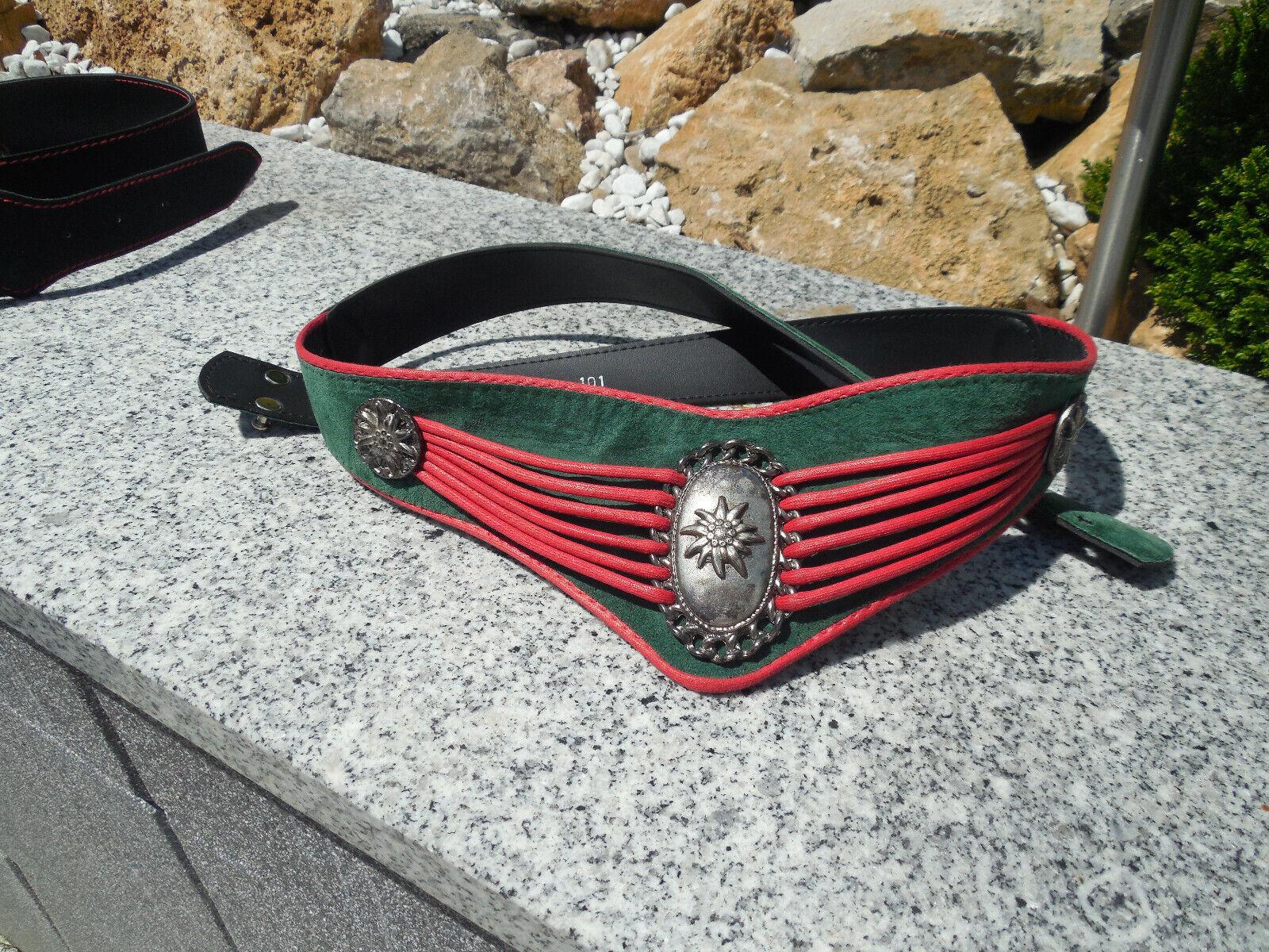 Trachtengürtel Damen rot/grün, 101 cm