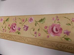 dor violet fleur feuille verte trail bordure papier peint. Black Bedroom Furniture Sets. Home Design Ideas