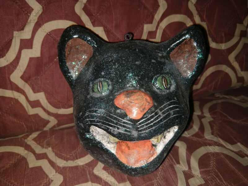 Spooky Halloween Decor Sparkly Old Vtg Black Cat Head Showing Fangs Ornament