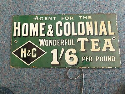 VINTAGE Home & Colonial tea DOUBLE SIDED ENAMEL SIGN