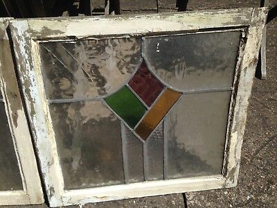 2x Original Reclaimed Vintage Art Deco Leaded Light Stained Glass Window & frame