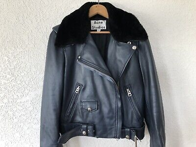 ACNE STUDIOS Dark Navy Blue Leather Moto Jacket Size 36 NWT Fur Shearling Collar