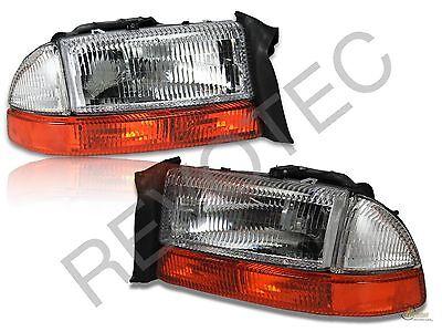 97-04 Dodge Dakota 98-03 Durango OE Style Headlights + Bumper Signal Lamps Set