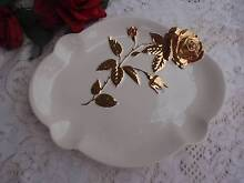 VINTAGE ROYAL WINTON ENGLAND FOOTED PLATTER WHITE/GOLD ROSE 33CM Loganholme Logan Area Preview
