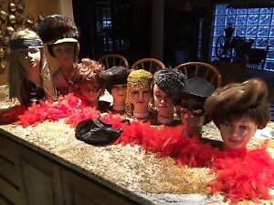 Vintage Mannequin Heads (8) with accessories