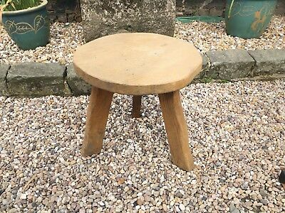 VINTAGE ARTS & CRAFTS WANDERWOOD THREE LEG OAK TRUNK SLICE STOOL SIDE TABLE