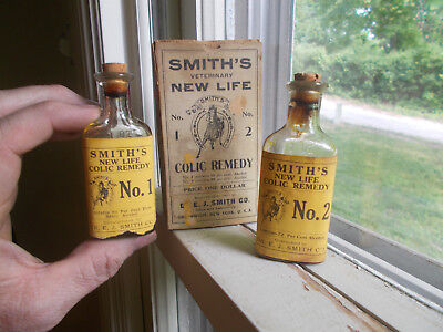 SMITH'S NEW LIFE COLIC REMEDY 2 BOTTLE SET IN BOX 1890s VETERINARY HORSE MED