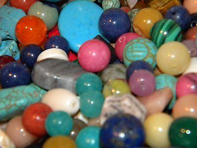 NEW 12/oz Multi-colored 6-20mm MIXED LOOSE BEADS LOT Gem, Semi-precious (u7)