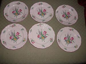Serie-de-6-assiettes-creuses-034-tulipes-034-034-Reverbere-034-KG-Luneville