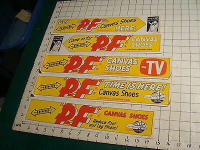 vintage P.F. Shoes display: 5 UNUSED Rectangle paper signs, some wrinkling HOOD