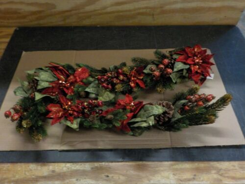 Nearly Natural 4916 Poinsettia and Berry Garland, 60-Inch, Red