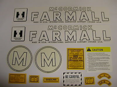 Ihc Farmall Model M Tractor Decal Set - New Free Shipping
