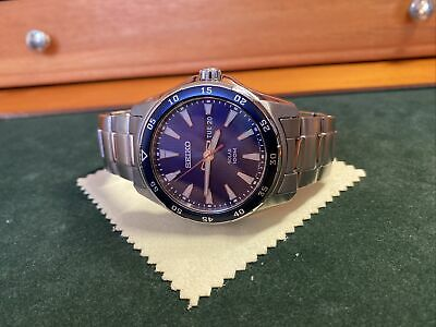 Seiko Solar Blue Dial Stainless Steel Sport Watch SNE391