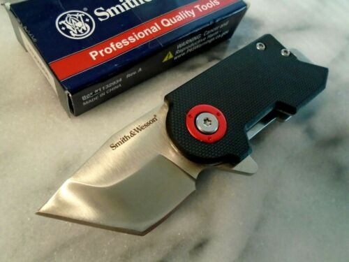 Smith & Wesson Benji Tanto Ball Bearing Open Pocket Knife Money Clip Cap Lifter