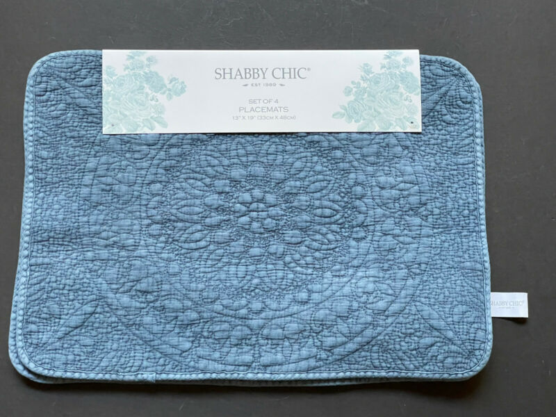 NEW RARE! 4 SHABBY CHIC Table Placemats DENIM BLUE Quilted Cotton Polyester