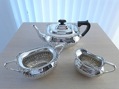 "♛ Halb-geripptes englisches Silber Tee-Set 3 Teile ""Atkin Brothers"" Sheffield ♛"
