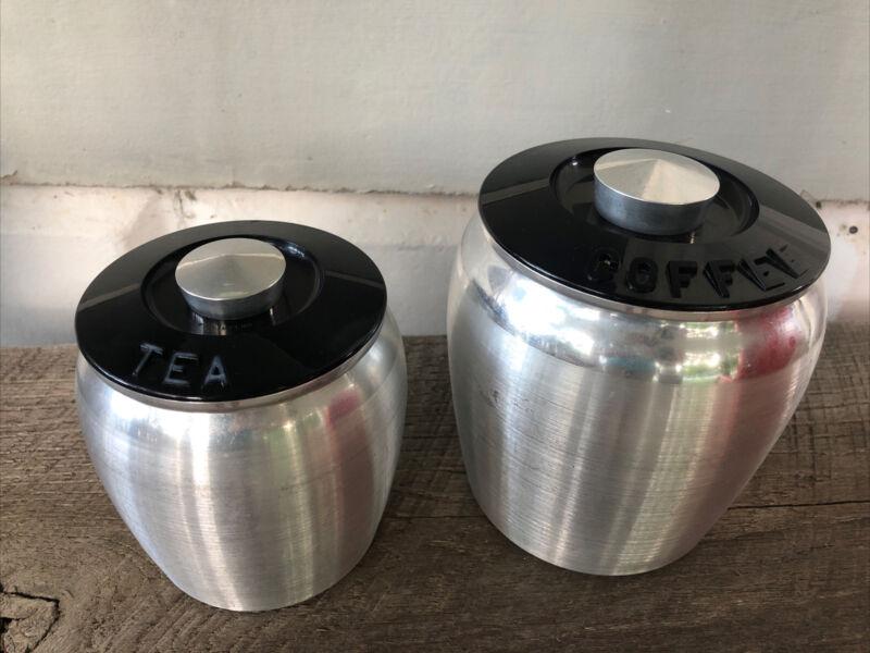 MCM Midcentury Vtg Kromex Spun Aluminum Tea Coffee Jar Canister With Silver Knob