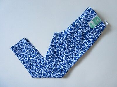 NWT Old Navy Pixie in Blue White Floral Print Mid-Rise Stretch Crop Pants 2 Stretch Floral Crop Hose