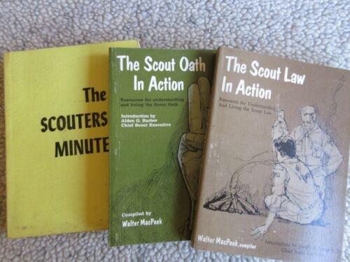 3 BOY SCOUTS BOOKS - LAW IN ACTION - OATH IN ACTION - THE SCOUTERS MINUTE 1960