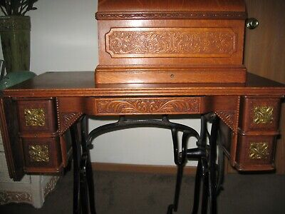 Antique 1890 Wheeler and Wilson No.9 Sewing Machine and Table. Awesome Woodwork. for sale  Shipping to Nigeria