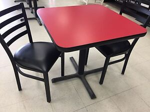 Tables, chairs and benches for restaurant or cafe